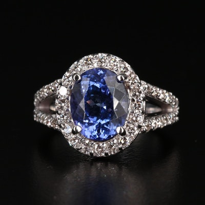 14K Gold 3.37 CT Tanzanite and 1.11 CTW Diamond Ring