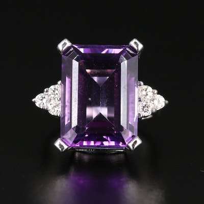 14K Amethyst and Diamond Rectangle Ring