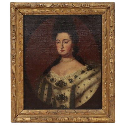 Manner of Sir Godfrey Kneller Oil Portrait of Queen Mary II, 19th Century