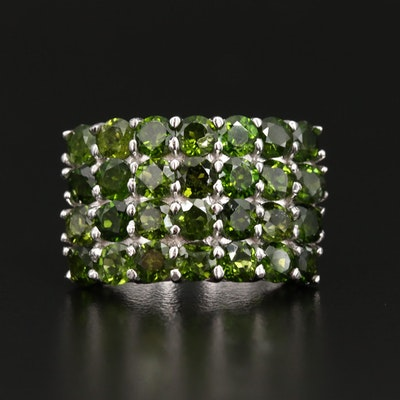 Sterling Silver Diopside Multi-Row Ring