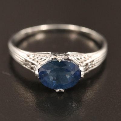 Edwardian Style Platinum 1.50 CT Blue Sapphire Ring