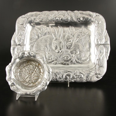 "Arthur Court ""Bunnies"" Aluminum Serving Tray and Bowl"