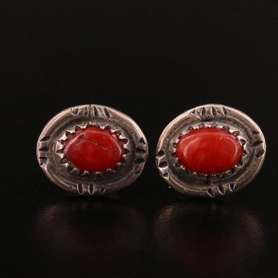 Western Style Sterling Silver and Coral Button Earrings