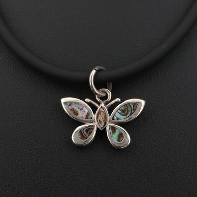 Sterling Silver Abalone Butterfly Pendant on Rubberized Collar Necklace