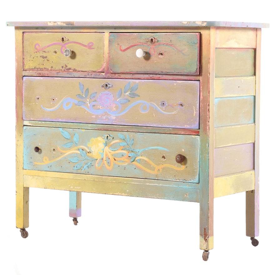 Paint Decorated Chest of Drawers, Early to Mid 20th Century