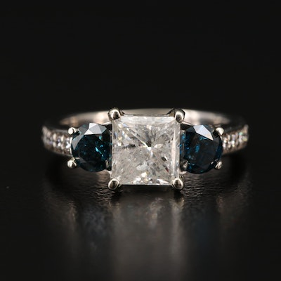 18K Gold 2.41 CTW Diamond Ring with Blue Diamonds
