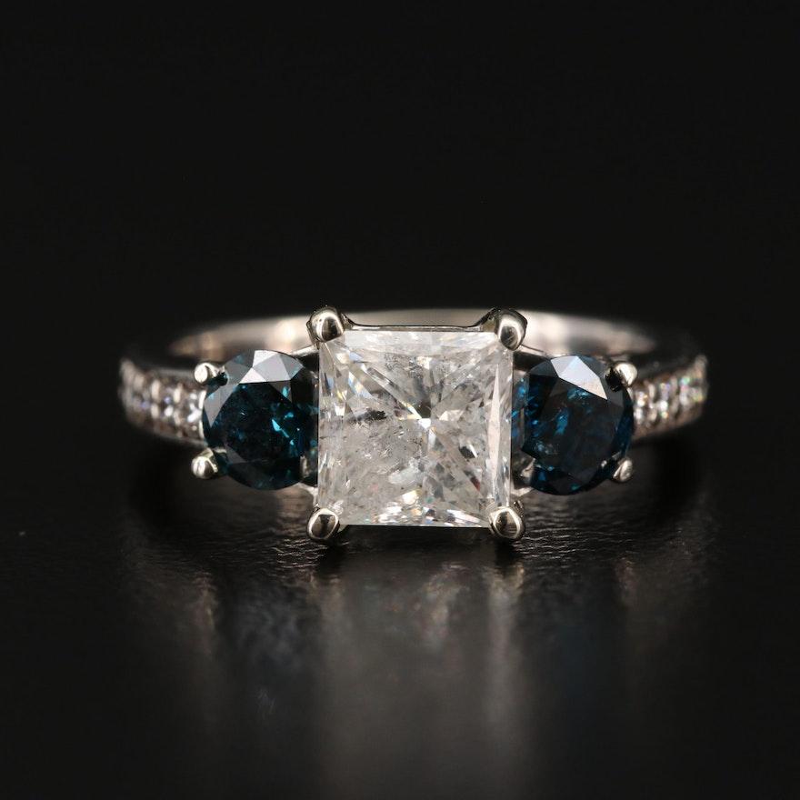 18K Gold 2.41 CTW Diamond Ring with Blue Diamonds