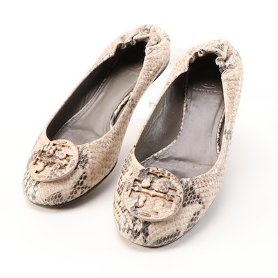 Tory Burch Reva Snakeskin Print Embossed Leather Flats