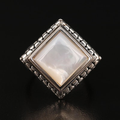 Michael Dawkins Sterling Silver and Mother of Pearl Triangle Ring