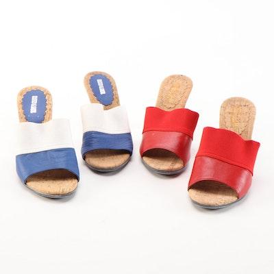 David & Saul Textile and Leather Heeled Slide Sandals