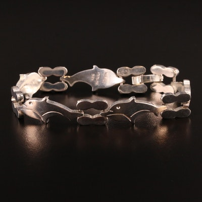 Mexican Sterling Silver Dolphin Motif Bracelet