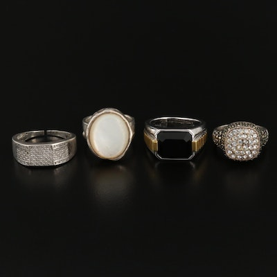 Collection of Sterling Silver Rings with Mother of Pearl, Diamond and Black Onyx
