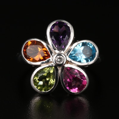 Sterling Multi-Color Flower Ring with Amethyst, Citrine, Topaz and Peridot