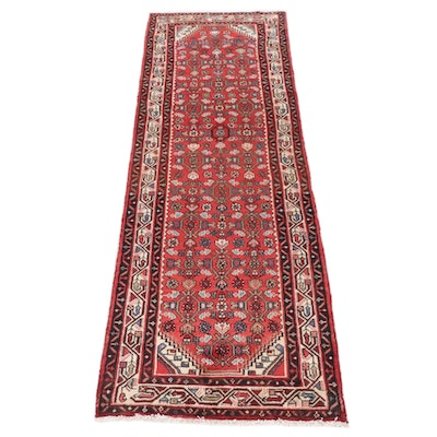3'3 x 9'11 Hand-Knotted Persian Zanjan Wide Runner Rug, 1980s