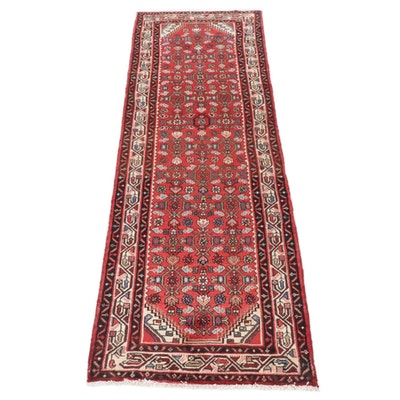3'3 x 9'11 Hand-Knotted Persian Zanjan Wide Runner Rug, 1980s