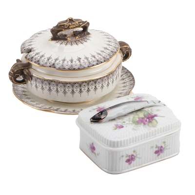 Royal Worcester Porcelain Soup Tureen with Porcelain Sardine Box