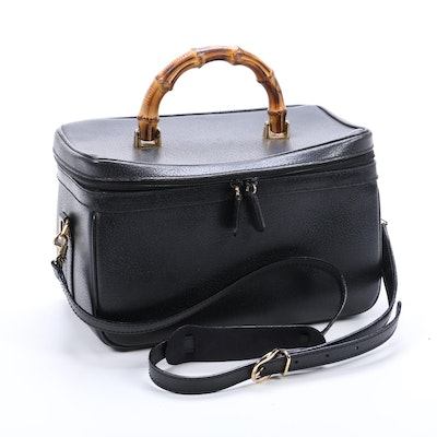 Gucci Bamboo Line Vanity Case in Black Textured Leather with Shoulder Strap