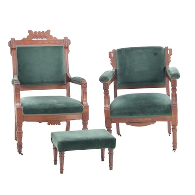 Victorian Eastlake Walnut Armchairs with Footstool, Late 19th Century