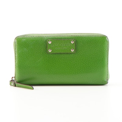 Kate Spade New York Green Textured Leather Zip Wallet
