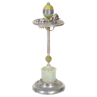 MICO Art Deco Glass and Chrome Light-Up Smoking Stand