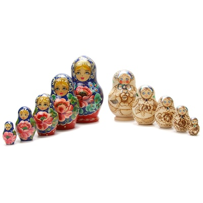 Two Sets of Handcrafted Wooden Russian Matryoshka Dolls