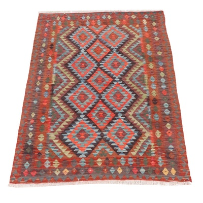 4'11 x 6'8 Handwoven Turkish Village Kilim Rug, 2010s