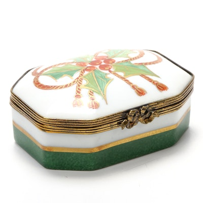 Chamart Hand-Painted Holly Leaf Porcelain Limoges Box