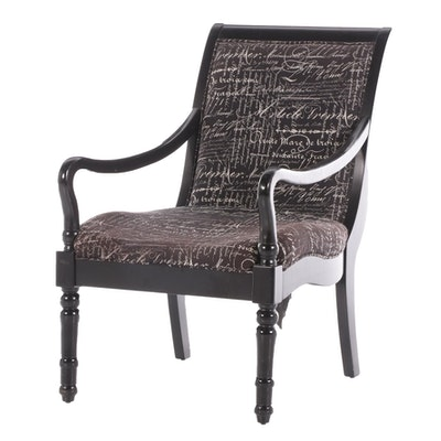 Plantation Style Ebonized Upholstered Arm Chair