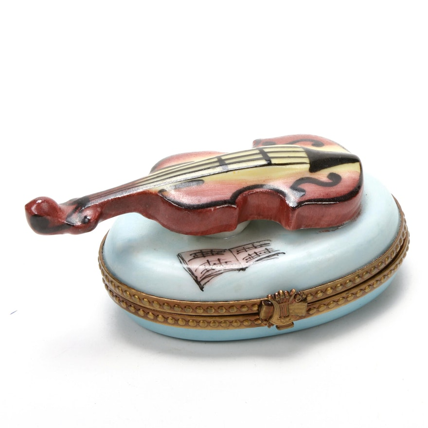 Rochard Hand-Painted Violin Porcelain Limoges Box