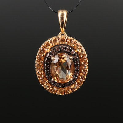 Sterling Silver Citrine and Diamond Oval Pendant