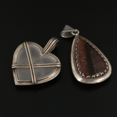 Mexican 990 Teardrop and Sterling Silver Heart Pendants