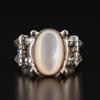 Michael Dawkins Sterling Silver and Mother of Pearl Ring