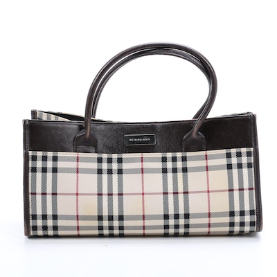 "Burberry ""House Check"" Canvas Tote Bag with Black Leather Trim"