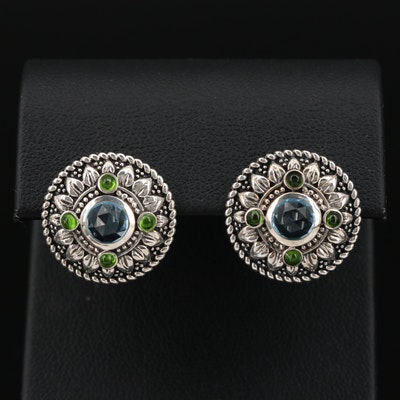 Sterling Silver Topaz and Diopside Medallion Style Stud Earrings