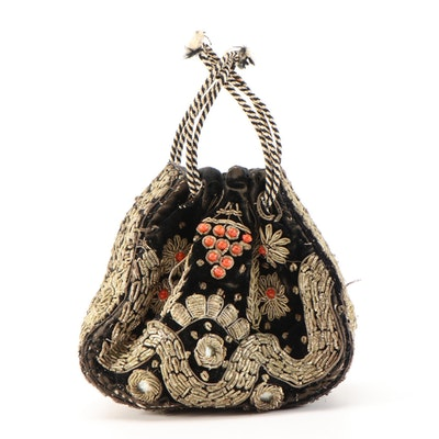 Zardozi Hand Embroidered Velvet Drawstring Bag with Bead and Mirror Accents