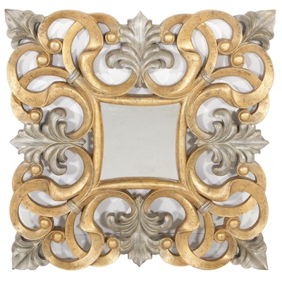 Silver and Gold Toned Scroll Design Wall Mirror, Contemporary