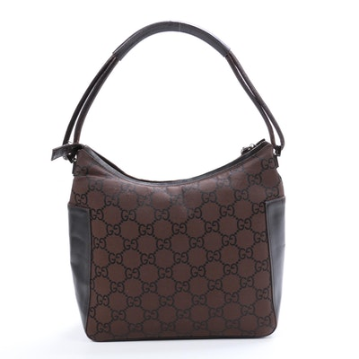 Gucci GG Canvas and Brown Leather Top Handle Bag