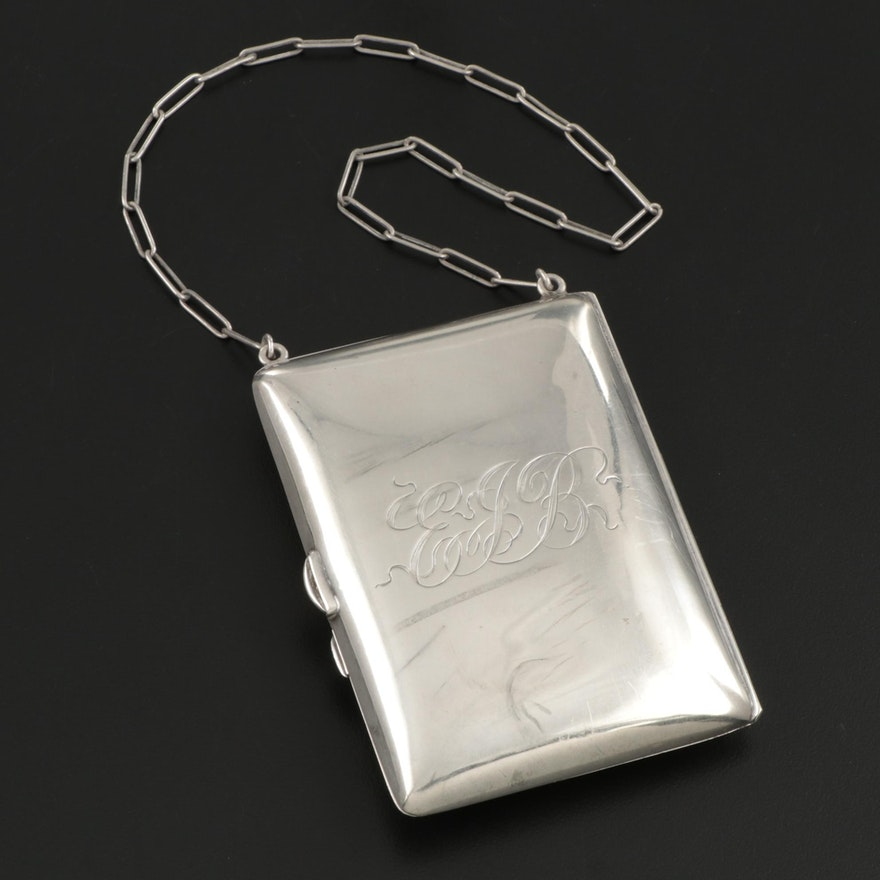 Sterling Silver Wristlet Coin Purse with Monogram and Chain Strap, Antique