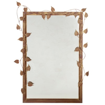 Metal Wall Mirror with Vine Decoration, Contemporary