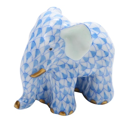 "Herend Blue Fishnet with Gold  ""Miniature Elephant"" Porcelain Figurine"