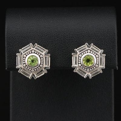 Sterling Silver Peridot Button Earrings