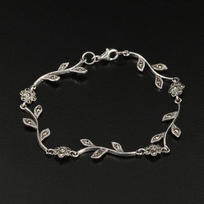 Sterling Silver Marcasite Floral Bracelet
