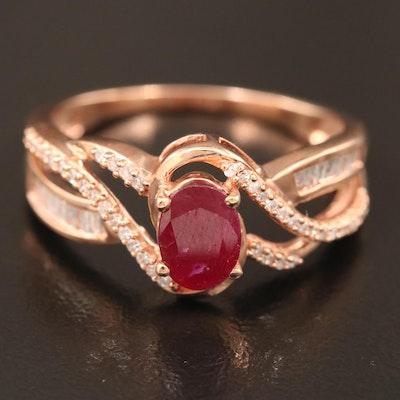 10K Rose Gold Corundum and Diamond Ring