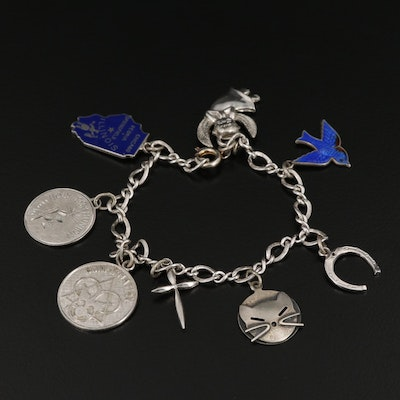 Sterling Silver Charm Bracelet Featuring Enamel Accents