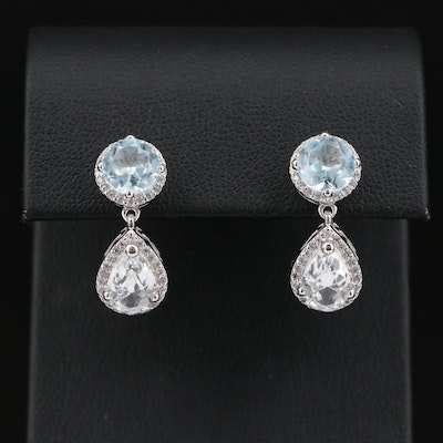 Sterling Silver Topaz and Sapphire Earrings