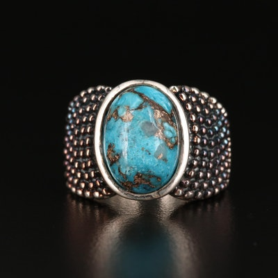 Michael Dawkins Sterling Silver Stabilized Turquoise Ring