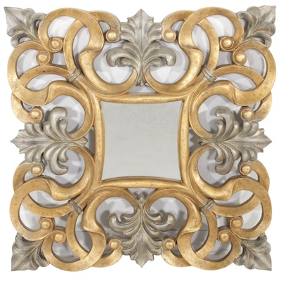 Silver and Gold Toned Scrolling Wall Mirror, Contemporary