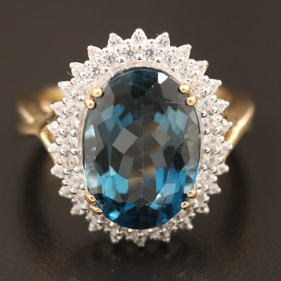 Sterling Silver London Blue Topaz and White Topaz Ring