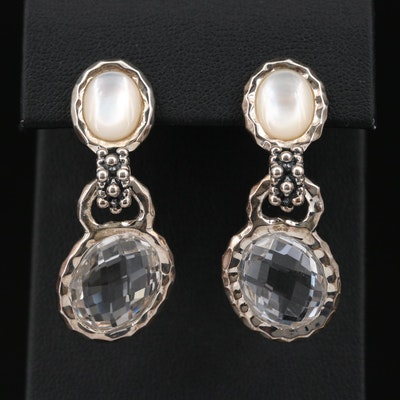 Michael Dawkins Sterling Silver Rock Crystal Quartz and Mother of Pearl Earrings