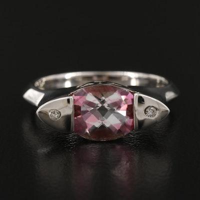 14K Topaz and Diamond Three Stone Ring